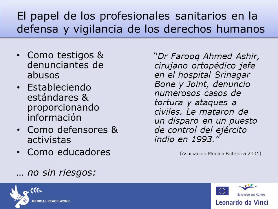 El papel de los profesionales sanitarios en la defensa y vigilancia de los derechos humanos Como testigos & denunciantes de abusos Estableciendo están