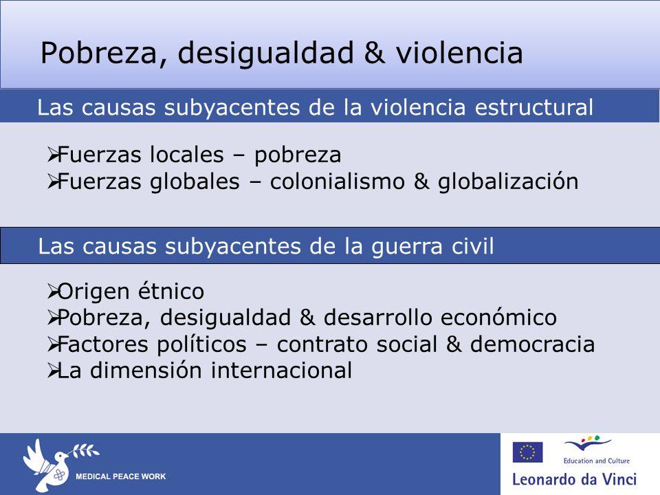 Pobreza, desigualdad & violencia Fuerzas locales – pobreza Fuerzas globales – colonialismo & globalización Origen étnico Pobreza, desigualdad & desarr