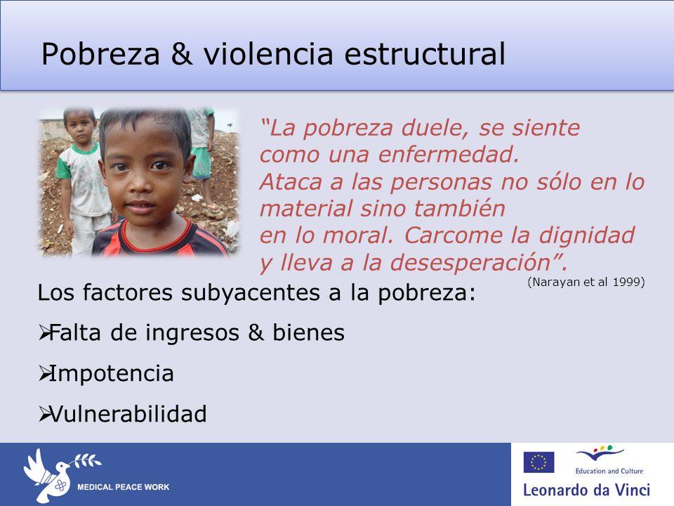 Pobreza & violencia estructural Los factores subyacentes a la pobreza: Falta de ingresos & bienes Impotencia Vulnerabilidad La pobreza duele, se sient