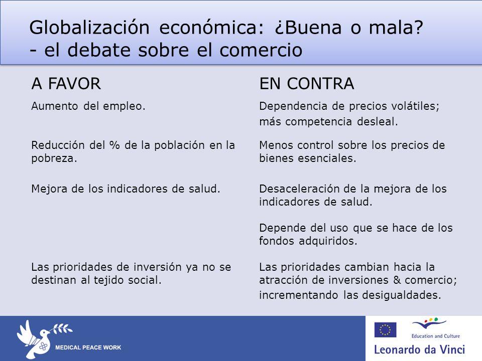 Globalización económica: ¿Buena o mala? - el debate sobre el comercio A FAVOREN CONTRA Aumento del empleo.Dependencia de precios volátiles; más compet