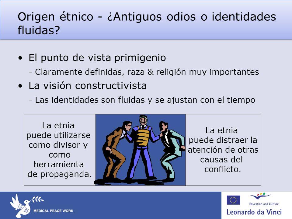Origen étnico - ¿Antiguos odios o identidades fluidas? El punto de vista primigenio - Claramente definidas, raza & religión muy importantes La visión