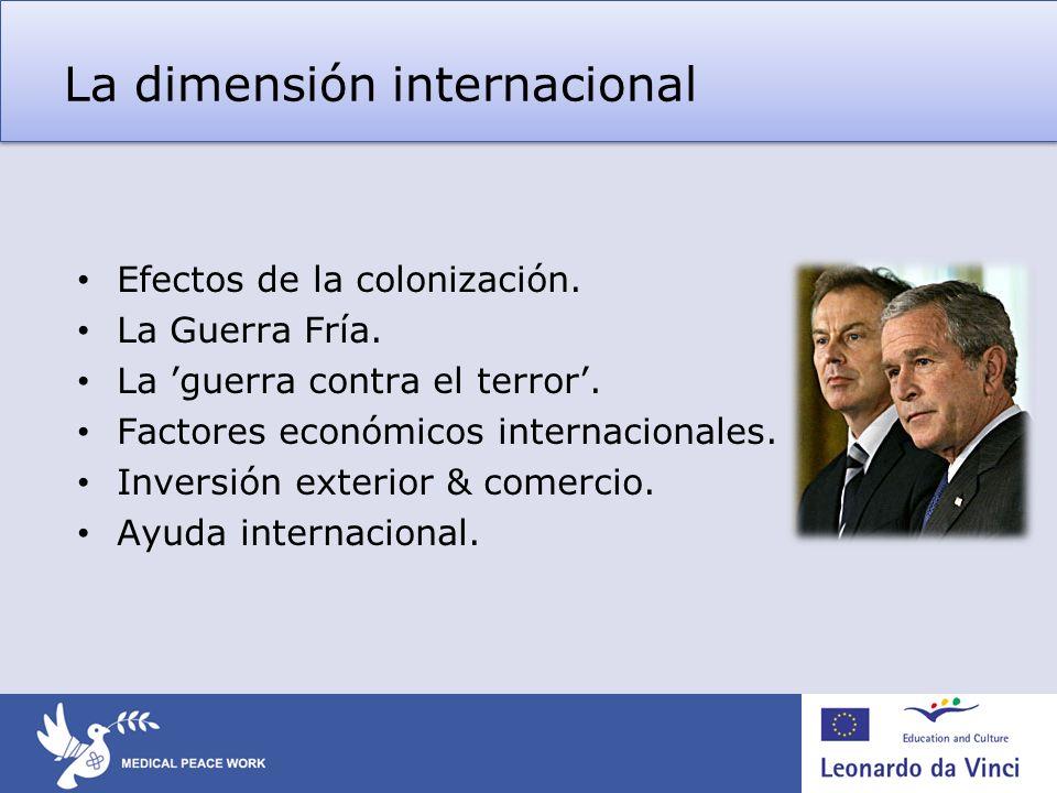 La dimensión internacional Efectos de la colonización. La Guerra Fría. La guerra contra el terror. Factores económicos internacionales. Inversión exte