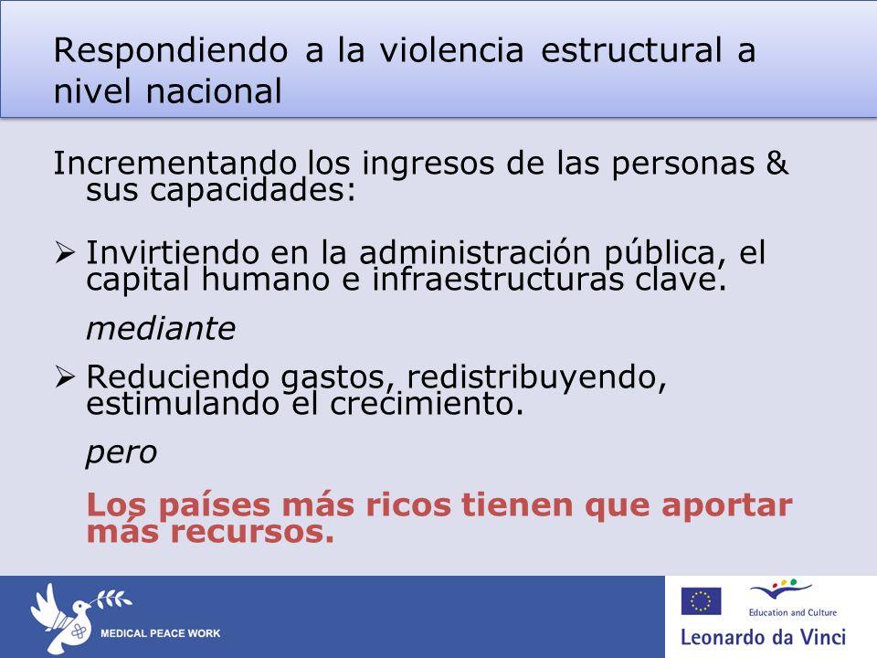 Respondiendo a la violencia estructural a nivel nacional Incrementando los ingresos de las personas & sus capacidades: Invirtiendo en la administració