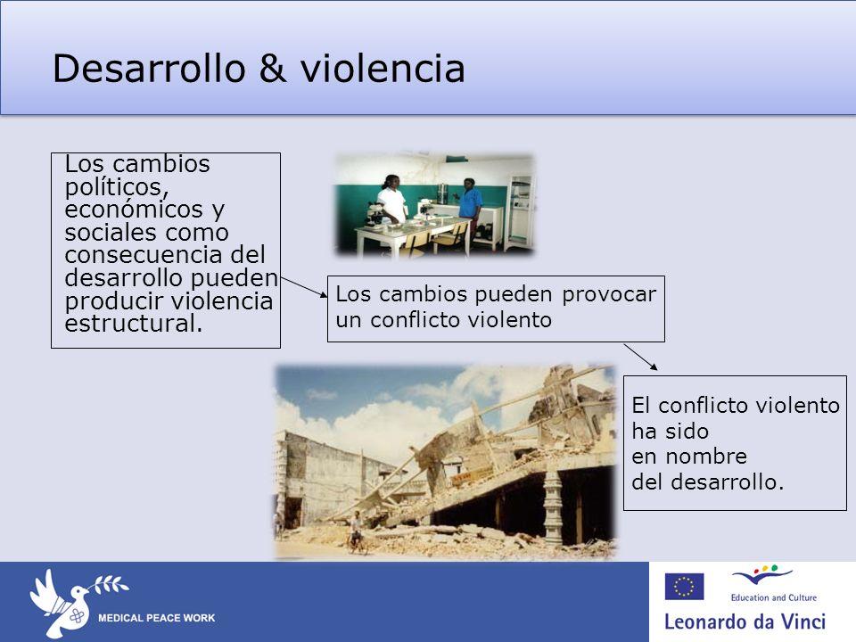 Desarrollo & violencia Los cambios políticos, económicos y sociales como consecuencia del desarrollo pueden producir violencia estructural. Los cambio