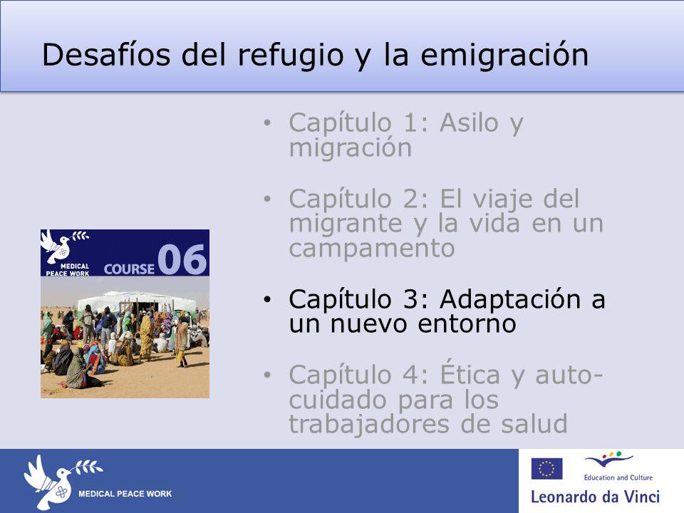 Desafíos del refugio y la emigración Capítulo 1: Asilo y migración Capítulo 2: El viaje del migrante y la vida en un campamento Capítulo 3: Adaptación a un nuevo entorno Capítulo 4: Ética y auto- cuidado para los trabajadores de salud