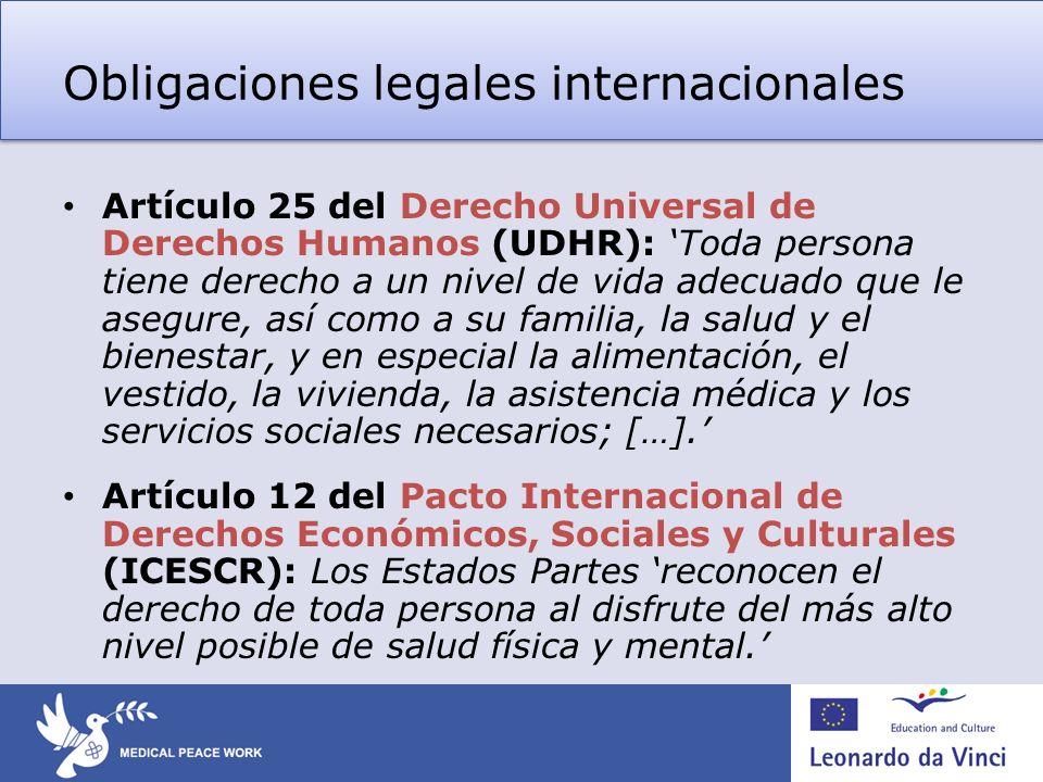 Obligaciones legales internacionales Artículo 25 del Derecho Universal de Derechos Humanos (UDHR): Toda persona tiene derecho a un nivel de vida adecuado que le asegure, así como a su familia, la salud y el bienestar, y en especial la alimentación, el vestido, la vivienda, la asistencia médica y los servicios sociales necesarios; […].