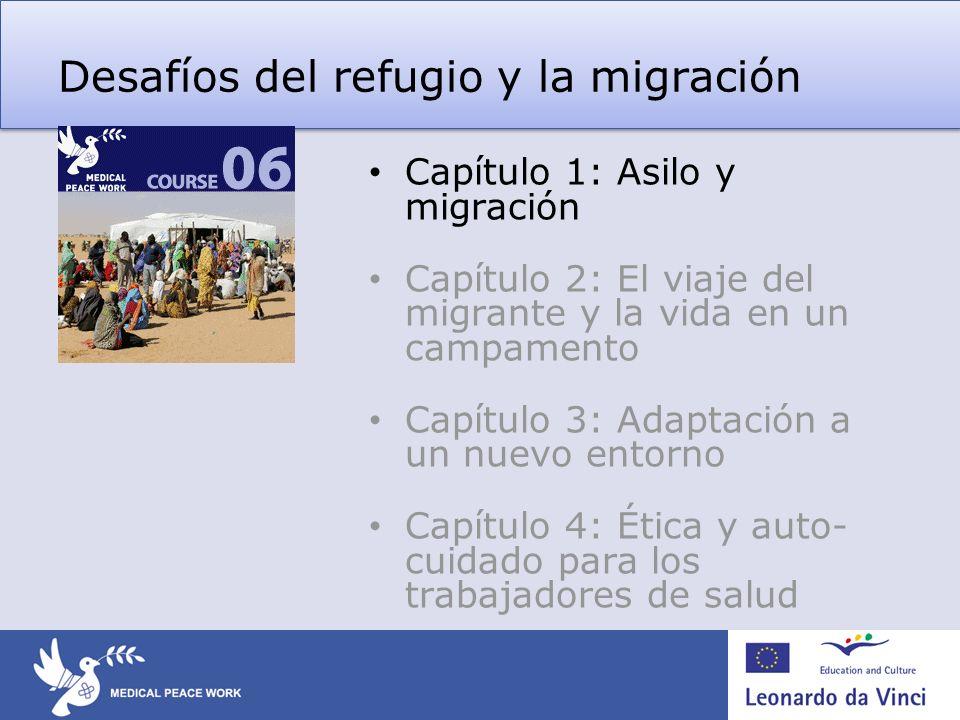 Desafíos del refugio y la migración Capítulo 1: Asilo y migración Capítulo 2: El viaje del migrante y la vida en un campamento Capítulo 3: Adaptación a un nuevo entorno Capítulo 4: Ética y auto- cuidado para los trabajadores de salud