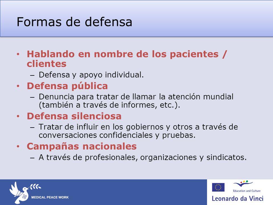 Formas de defensa Hablando en nombre de los pacientes / clientes – Defensa y apoyo individual.