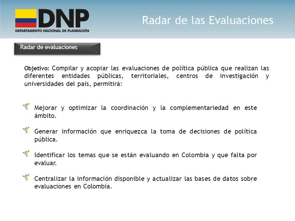 Radar de evaluaciones Objetivo: Compilar y acopiar las evaluaciones de política pública que realizan las diferentes entidades públicas, territoriales,