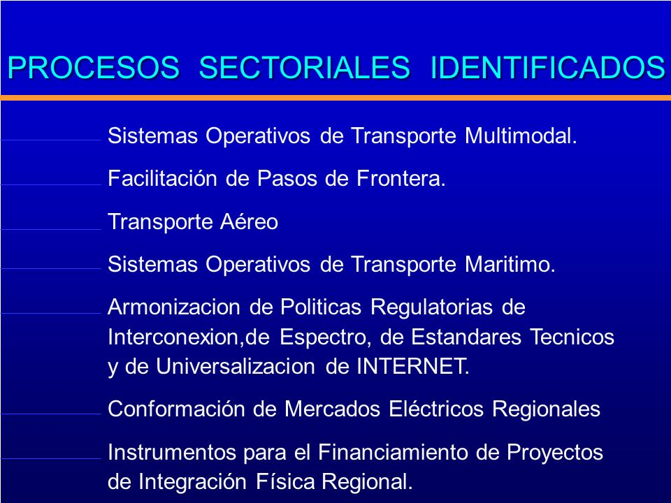 PROCESOS SECTORIALES IDENTIFICADOS Sistemas Operativos de Transporte Multimodal. Facilitación de Pasos de Frontera. Transporte Aéreo Sistemas Operativ