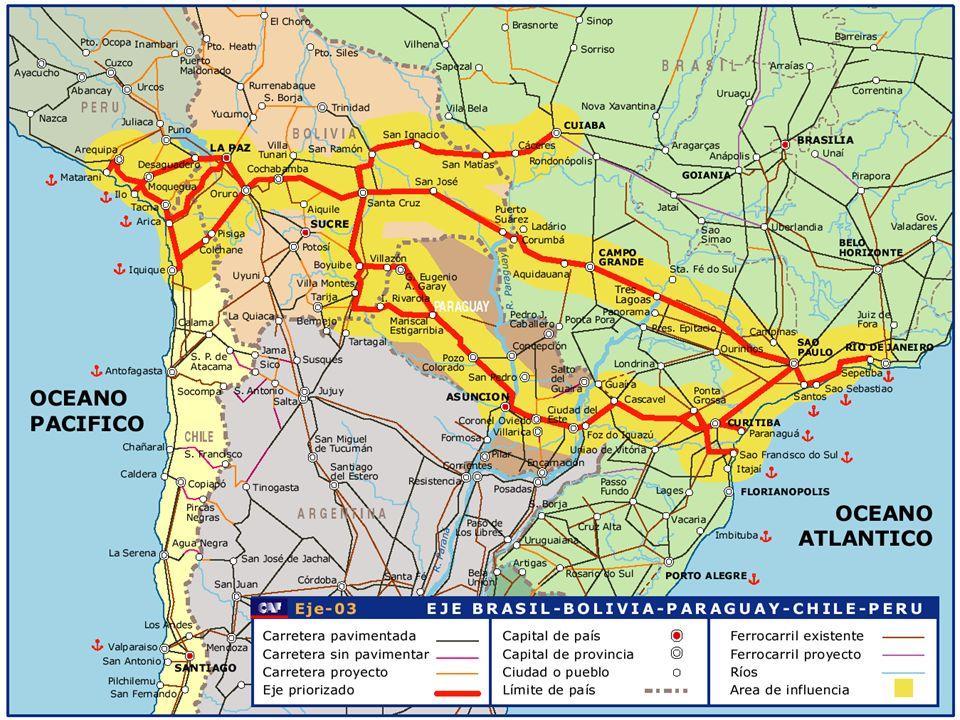 Los avances de 20 meses en la Iniciativa IIRSA Resultados del trabajo en los Ejes 3 GTEs de Ejes en funcionamiento 3 GTEs de Ejes en funcionamiento GTE del Eje Andino GTE del Eje Andino GTE del Eje Mercosur-Chile GTE del Eje Mercosur-Chile GTE del Eje Interoceánico GTE del Eje Interoceánico 30 reuniones de trabajo con Autoridades sectoriales 30 reuniones de trabajo con Autoridades sectoriales Misiones técnicas; Reuniones nacionales; Reuniones de GTEs Misiones técnicas; Reuniones nacionales; Reuniones de GTEs Fortalecimiento del diálogo bilateral en el contexto de cada Eje Fortalecimiento del diálogo bilateral en el contexto de cada Eje Fortalecimiento de la visión de cada país dentro de las potencialidades multisectoriales de cada Eje Fortalecimiento de la visión de cada país dentro de las potencialidades multisectoriales de cada Eje Más de 140 proyectos elegibles para primera generación Más de 140 proyectos elegibles para primera generación Eje Andino23 estudios, 24 proyectos Eje Andino23 estudios, 24 proyectos Eje Mercosur-Chile31 estudios, 39 proyectos Eje Mercosur-Chile31 estudios, 39 proyectos Eje Interoceánico14 estudios, 9 proyectos Eje Interoceánico14 estudios, 9 proyectos