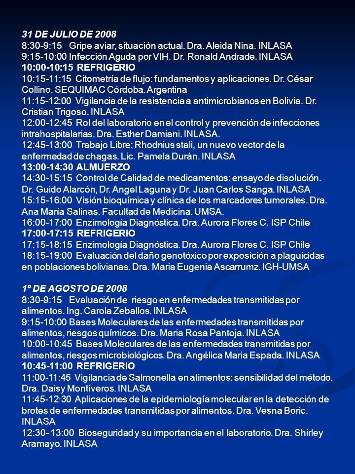 13:00-14:30 ALMUERZO 14:30-14:45 Trabajo Libre: Vigilancia de residuos de plaguicidas órgano fosforados en tomates de la ciudad de La Paz.