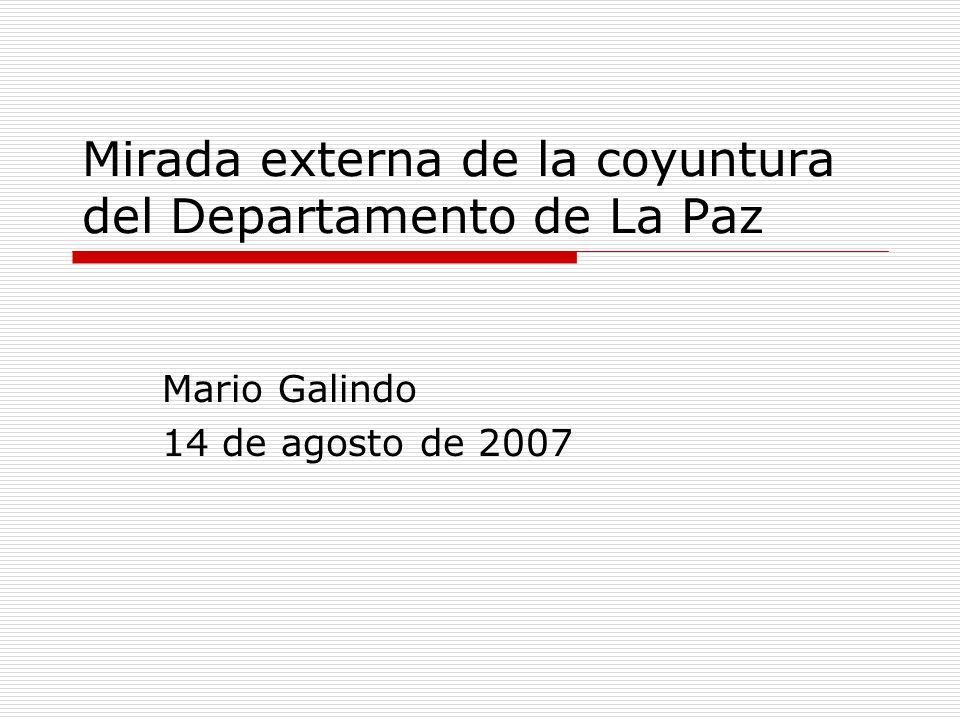 Mirada externa de la coyuntura del Departamento de La Paz Mario Galindo 14 de agosto de 2007