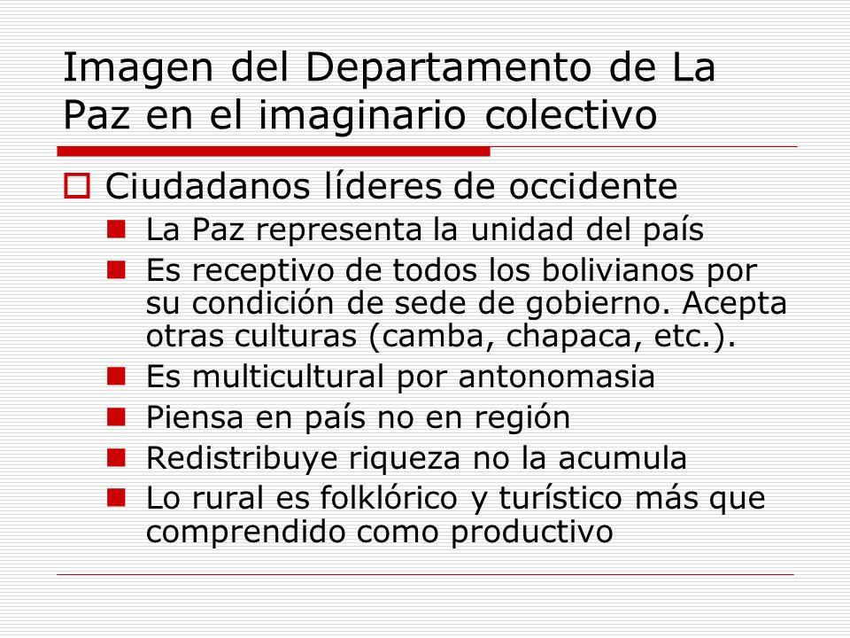 Imagen del Departamento de La Paz en el imaginario colectivo Ciudadanos líderes de occidente La Paz representa la unidad del país Es receptivo de todos los bolivianos por su condición de sede de gobierno.
