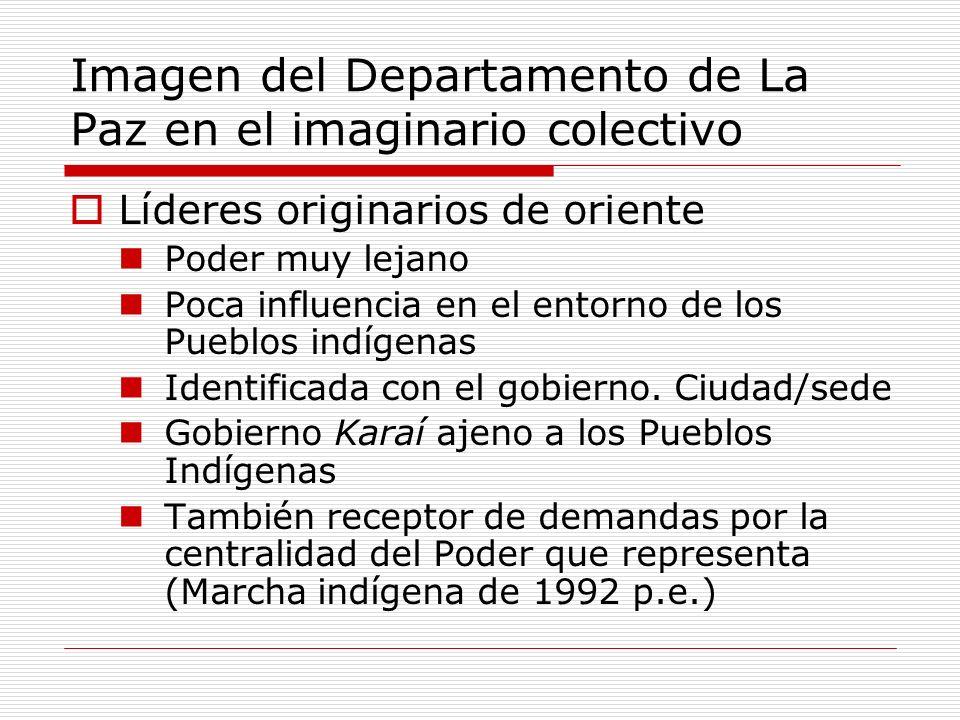 Imagen del Departamento de La Paz en el imaginario colectivo Líderes originarios de oriente Poder muy lejano Poca influencia en el entorno de los Pueblos indígenas Identificada con el gobierno.