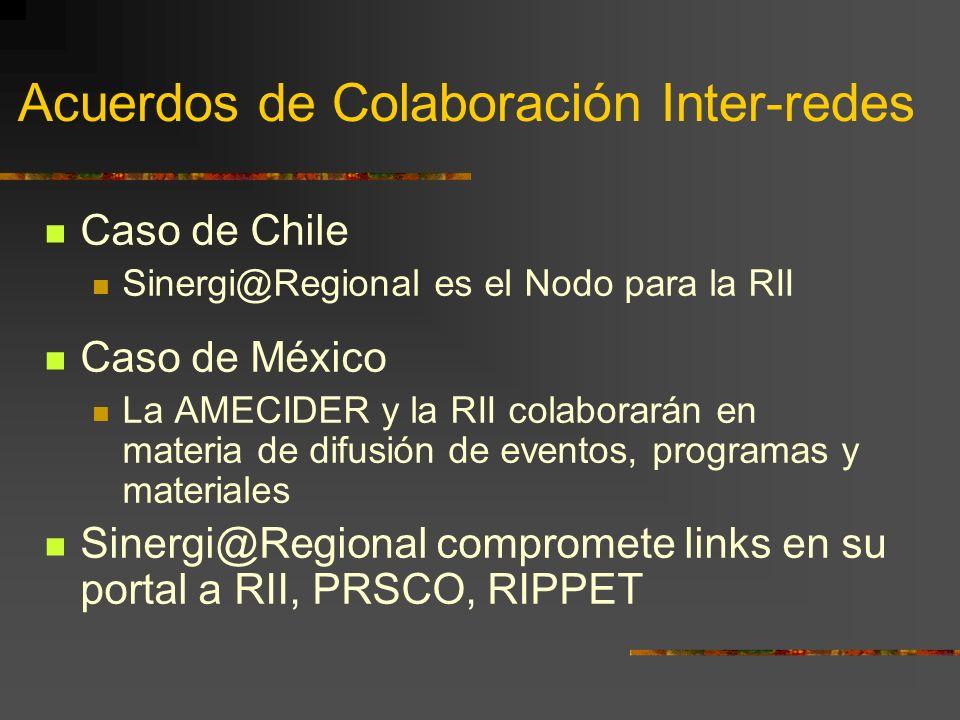 Acuerdos de Colaboración Inter-redes Caso de Chile Sinergi@Regional es el Nodo para la RII Caso de México La AMECIDER y la RII colaborarán en materia de difusión de eventos, programas y materiales Sinergi@Regional compromete links en su portal a RII, PRSCO, RIPPET