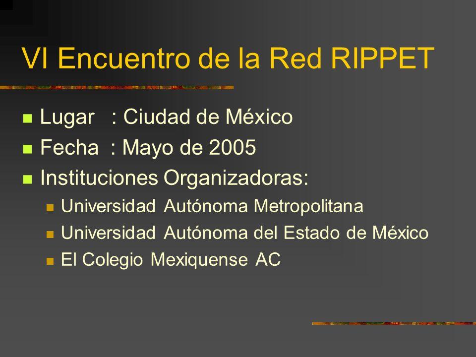 VI Encuentro de la Red RIPPET Lugar : Ciudad de México Fecha : Mayo de 2005 Instituciones Organizadoras: Universidad Autónoma Metropolitana Universidad Autónoma del Estado de México El Colegio Mexiquense AC