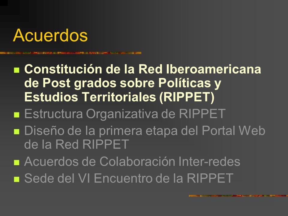 Acuerdos Constitución de la Red Iberoamericana de Post grados sobre Políticas y Estudios Territoriales (RIPPET) Estructura Organizativa de RIPPET Diseño de la primera etapa del Portal Web de la Red RIPPET Acuerdos de Colaboración Inter-redes Sede del VI Encuentro de la RIPPET