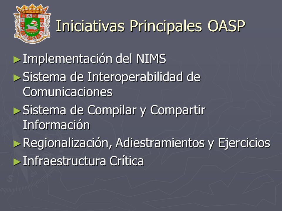 Iniciativas Principales OASP Implementación del NIMS Implementación del NIMS Sistema de Interoperabilidad de Comunicaciones Sistema de Interoperabilid