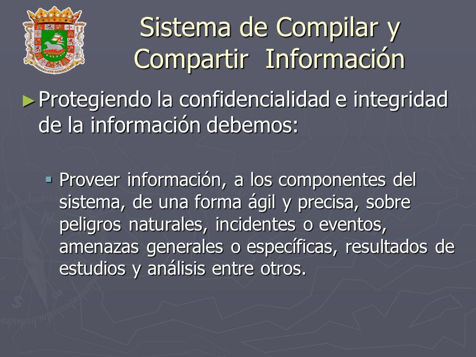 Sistema de Compilar y Compartir Información Protegiendo la confidencialidad e integridad de la información debemos: Protegiendo la confidencialidad e