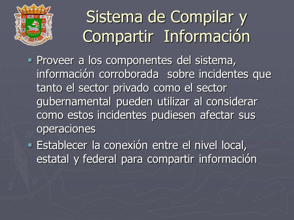 Sistema de Compilar y Compartir Información Proveer a los componentes del sistema, información corroborada sobre incidentes que tanto el sector privad