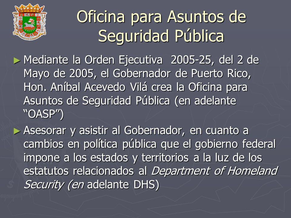 Oficina para Asuntos de Seguridad Pública Mediante la Orden Ejecutiva 2005-25, del 2 de Mayo de 2005, el Gobernador de Puerto Rico, Hon. Aníbal Aceved