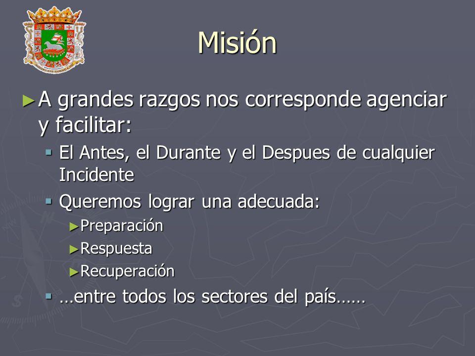 Misión A grandes razgos nos corresponde agenciar y facilitar: A grandes razgos nos corresponde agenciar y facilitar: El Antes, el Durante y el Despues