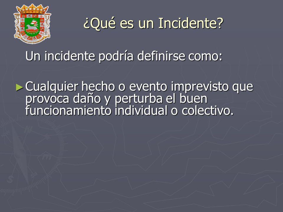 ¿Qué es un Incidente? Un incidente podría definirse como: Cualquier hecho o evento imprevisto que provoca daño y perturba el buen funcionamiento indiv