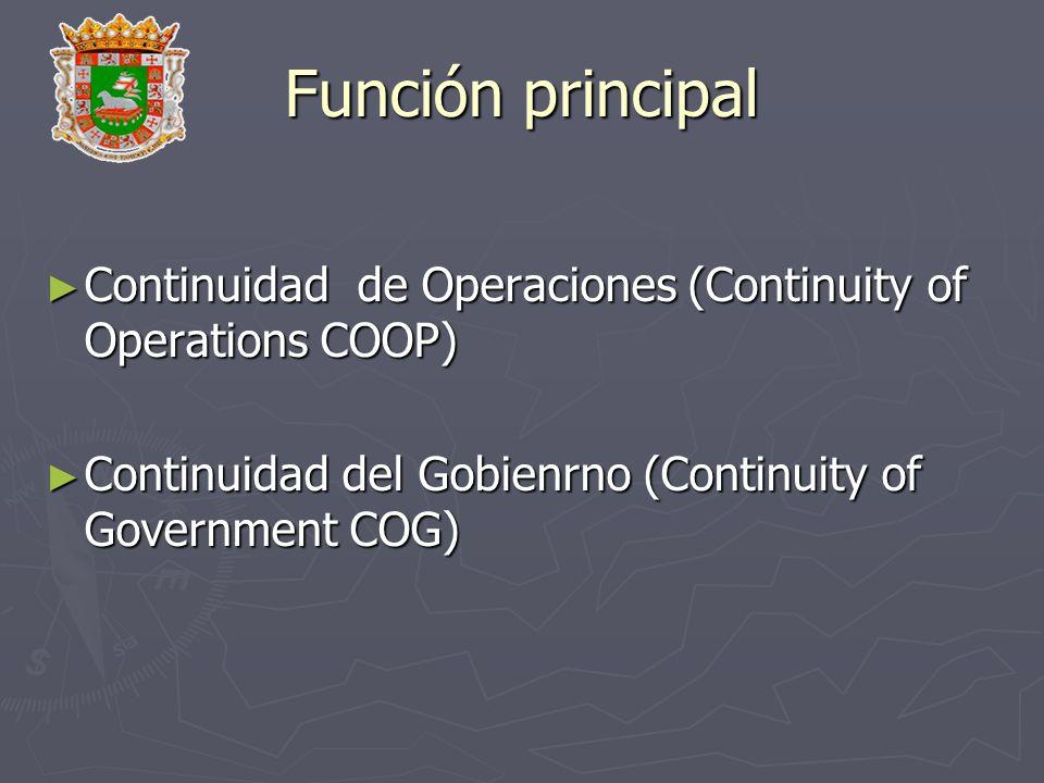 Función principal Continuidad de Operaciones (Continuity of Operations COOP) Continuidad de Operaciones (Continuity of Operations COOP) Continuidad de