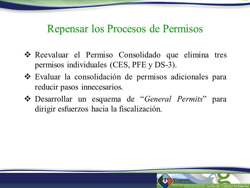 Repensar los Procesos de Permisos Reevaluar el Permiso Consolidado que elimina tres permisos individuales (CES, PFE y DS-3). Evaluar la consolidación