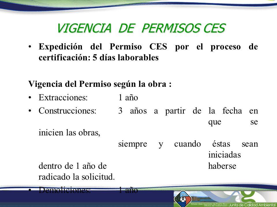 VIGENCIA DE PERMISOS CES Expedición del Permiso CES por el proceso de certificación: 5 días laborables Vigencia del Permiso según la obra : Extraccion