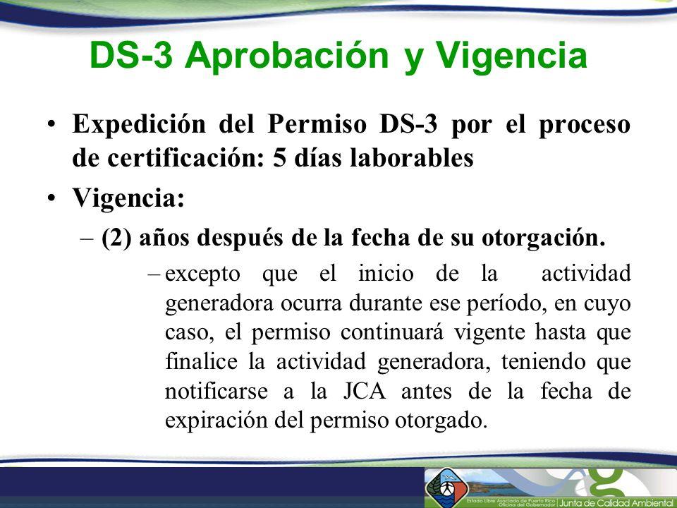DS-3 Aprobación y Vigencia Expedición del Permiso DS-3 por el proceso de certificación: 5 días laborables Vigencia: –(2) años después de la fecha de s