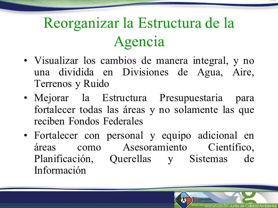 Reorganizar la Estructura de la Agencia Visualizar los cambios de manera integral, y no una dividida en Divisiones de Agua, Aire, Terrenos y Ruido Mej