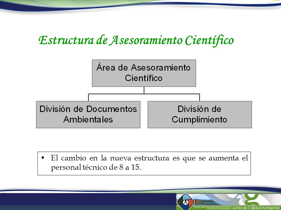 Estructura de Asesoramiento Científico El cambio en la nueva estructura es que se aumenta el personal técnico de 8 a 15.
