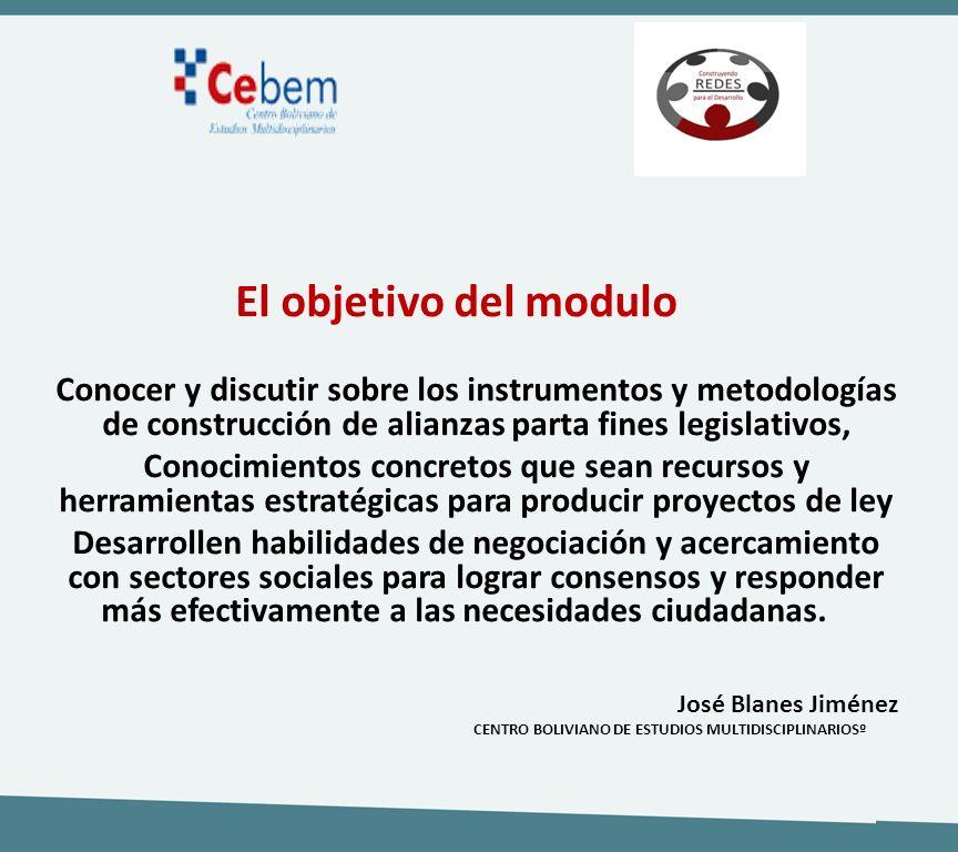 El objetivo del modulo Conocer y discutir sobre los instrumentos y metodologías de construcción de alianzas parta fines legislativos, Conocimientos co