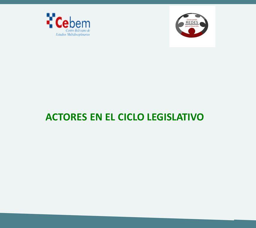 ACTORES EN EL CICLO LEGISLATIVO