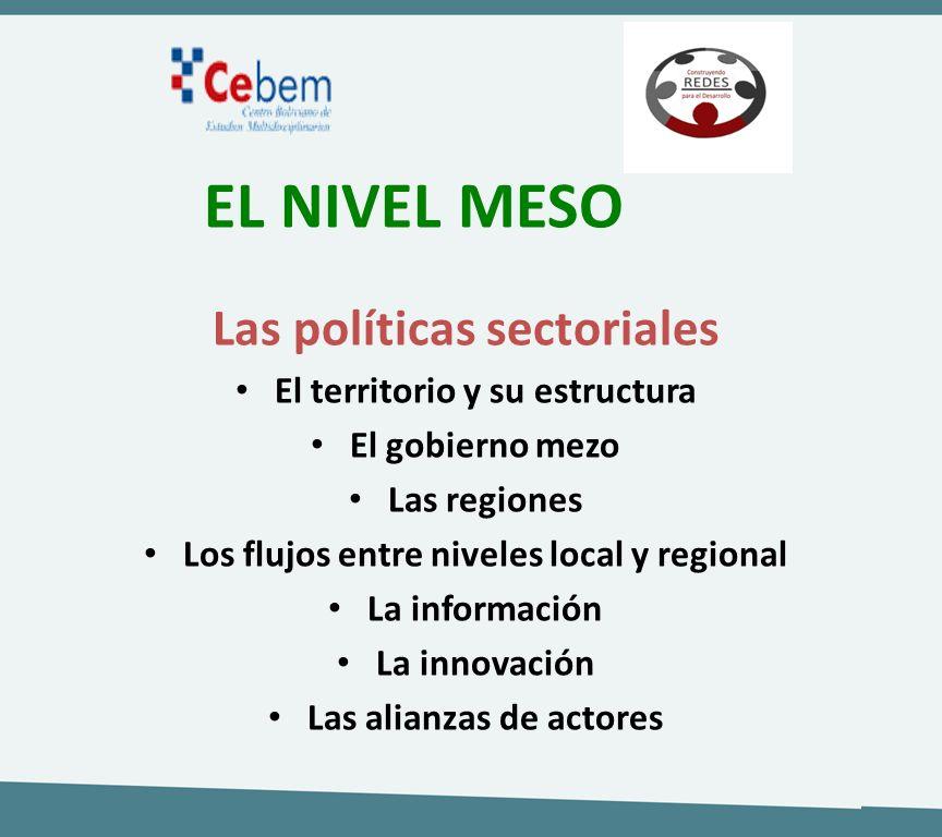 EL NIVEL MESO Las políticas sectoriales El territorio y su estructura El gobierno mezo Las regiones Los flujos entre niveles local y regional La infor
