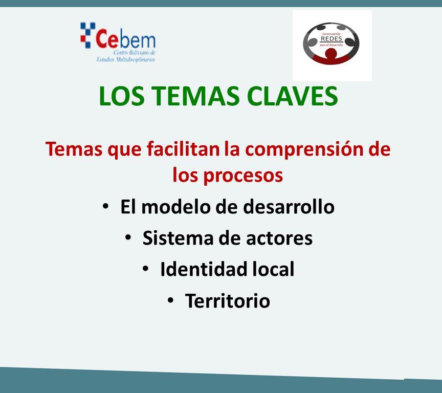 LOS TEMAS CLAVES Temas que facilitan la comprensión de los procesos El modelo de desarrollo Sistema de actores Identidad local Territorio