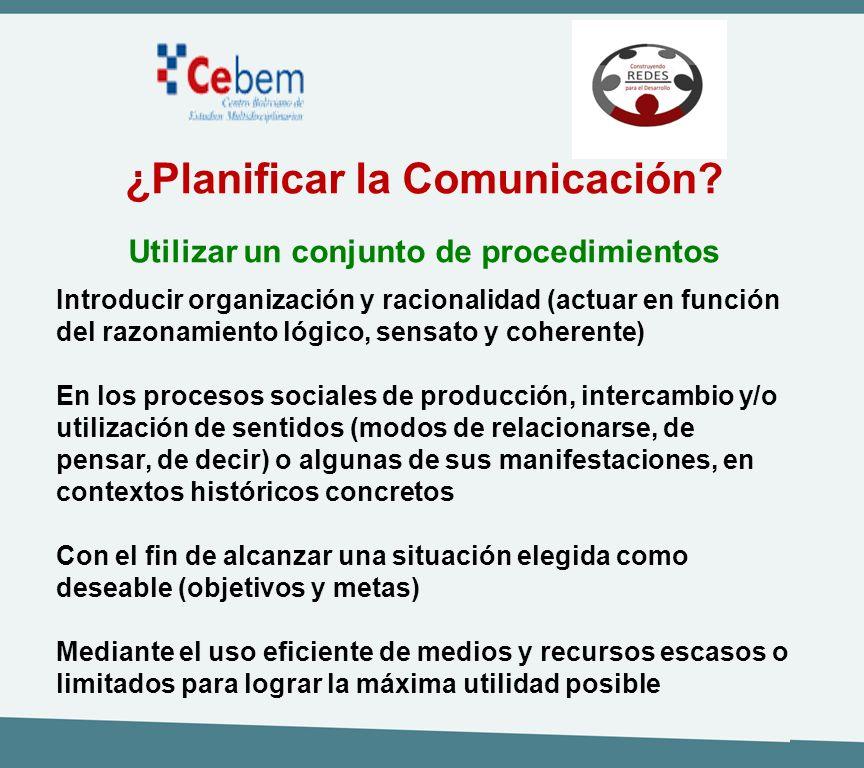 ¿Planificar la Comunicación? Utilizar un conjunto de procedimientos Introducir organización y racionalidad (actuar en función del razonamiento lógico,