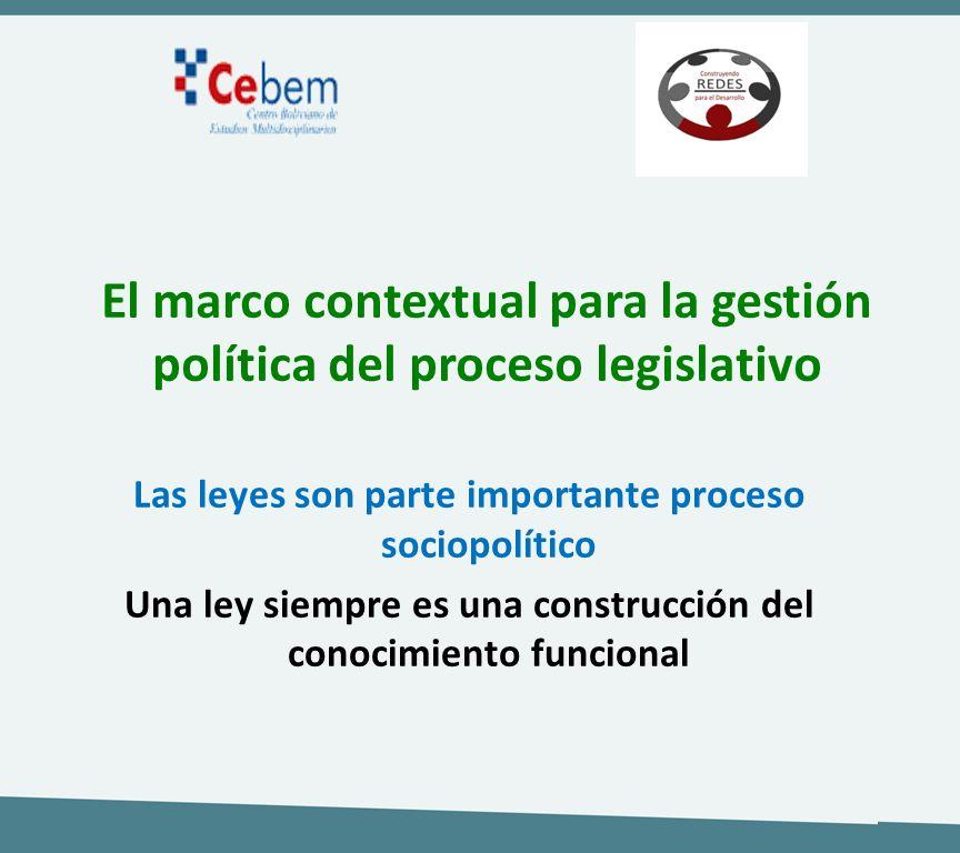 Las leyes son parte importante proceso sociopolítico Una ley siempre es una construcción del conocimiento funcional El marco contextual para la gestió
