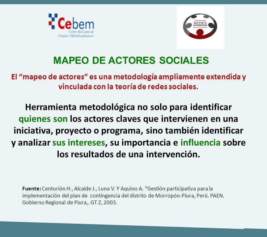 El mapeo de actores es una metodología ampliamente extendida y vinculada con la teoría de redes sociales. Herramienta metodológica no solo para identi
