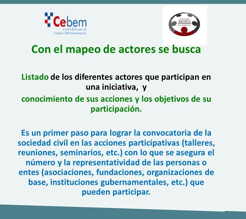 Con el mapeo de actores se busca Listado de los diferentes actores que participan en una iniciativa, y conocimiento de sus acciones y los objetivos de