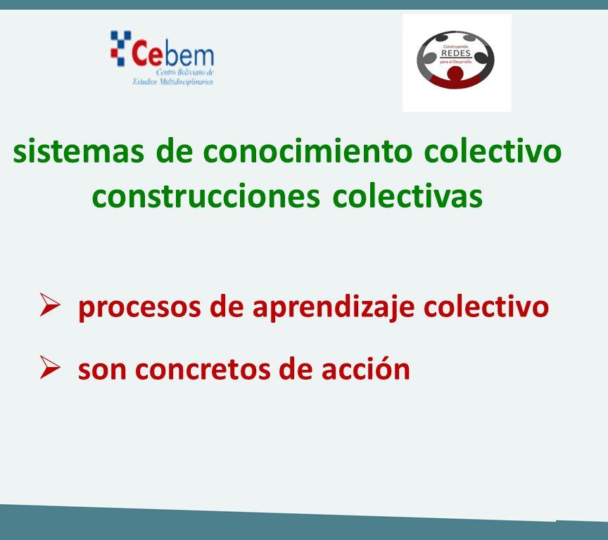 sistemas de conocimiento colectivo construcciones colectivas procesos de aprendizaje colectivo son concretos de acción