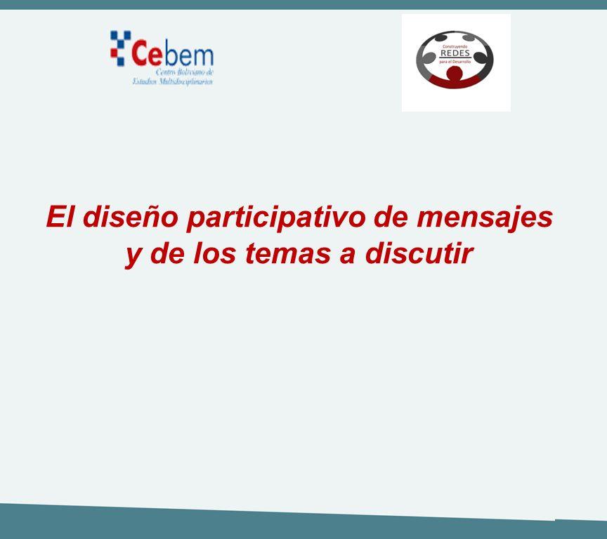 El diseño participativo de mensajes y de los temas a discutir