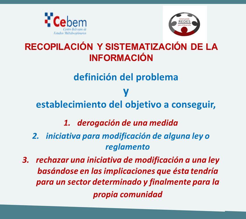 definición del problema y establecimiento del objetivo a conseguir, 1.derogación de una medida 2.iniciativa para modificación de alguna ley o reglamen