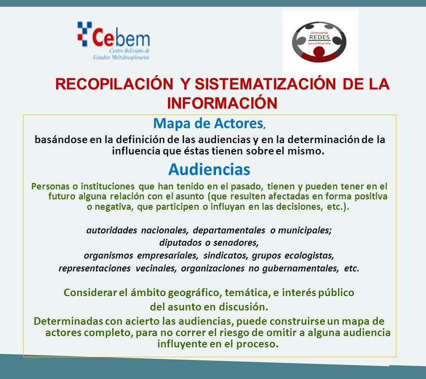 Mapa de Actores, basándose en la definición de las audiencias y en la determinación de la influencia que éstas tienen sobre el mismo. Audiencias Perso