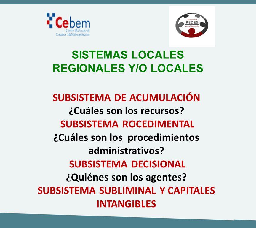 SISTEMAS LOCALES REGIONALES Y/O LOCALES SUBSISTEMA DE ACUMULACIÓN ¿Cuáles son los recursos? SUBSISTEMA ROCEDIMENTAL ¿Cuáles son los procedimientos adm