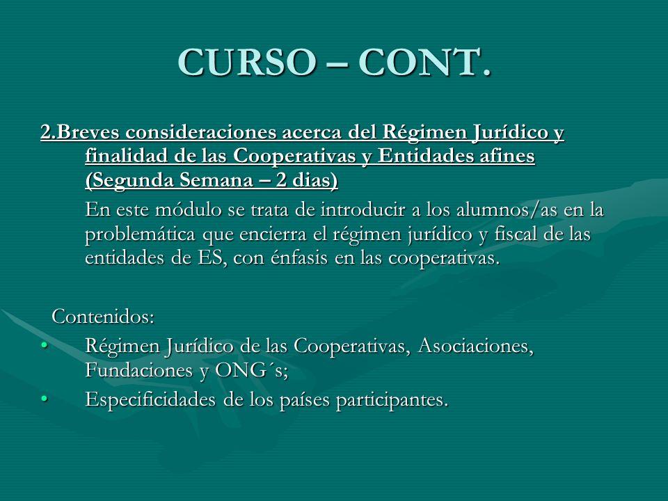 CURSO – CONT.