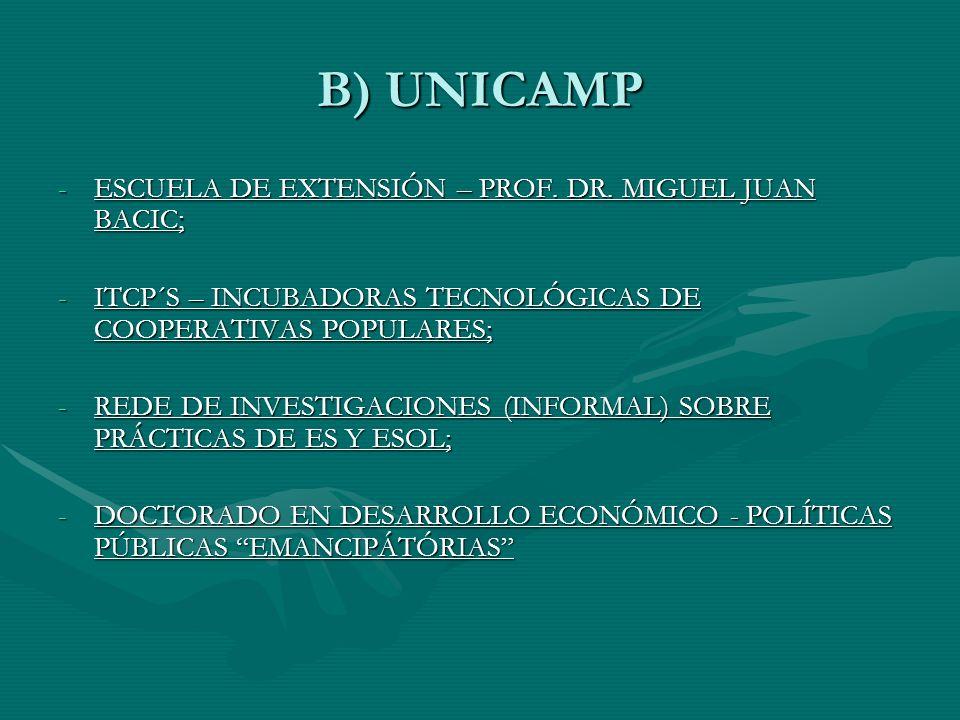 B) UNICAMP -ESCUELA DE EXTENSIÓN – PROF. DR.