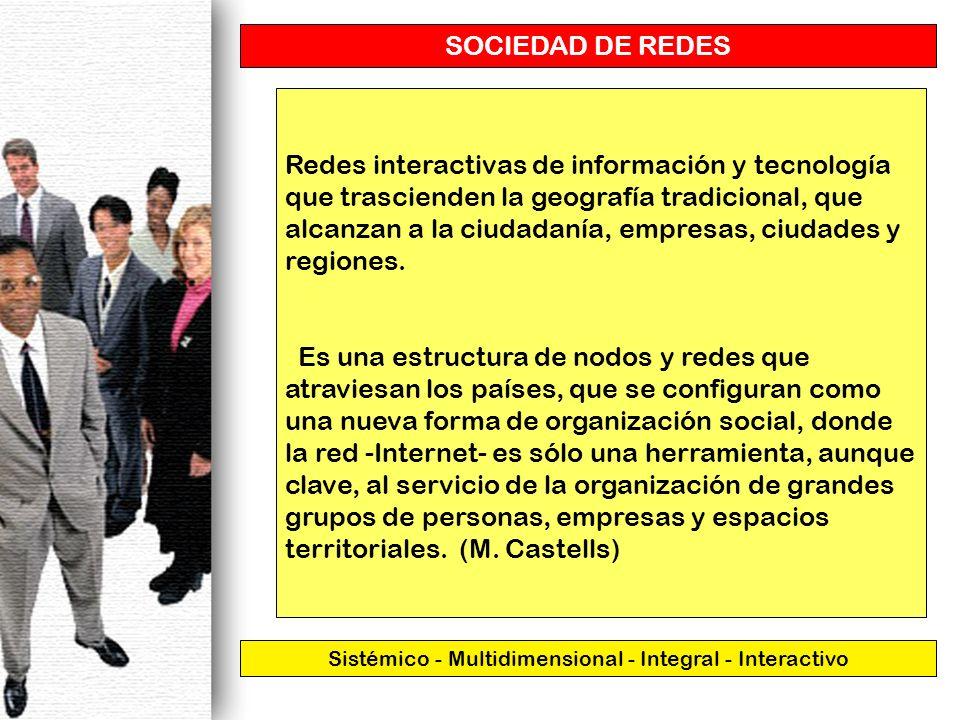 SOCIEDAD DE REDES Sistémico - Multidimensional - Integral - Interactivo Redes interactivas de información y tecnología que trascienden la geografía tr